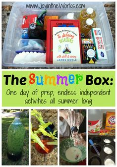 "Kids who are used to being entertained all the time, can't all of sudden be bored and figure out how to be creative on their own! They need a little guidance! ""The Summer Box"" takes one day to prep and entertains your child all summer long with endless independent, creative ideas!"
