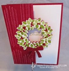 Stamp & Scrap with Frenchie: Cherry Cobbler Wondrous Wreath Flip Card