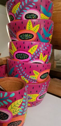 Painted Plant Pots, Painted Flower Pots, Pottery Painting, Pottery Art, Painting For Kids, Art For Kids, Posca Art, China Painting, Artisanal