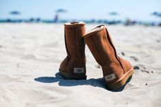 ugg boots on the beach, where it belongs