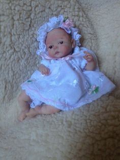 "OOAK polymer clay baby girl Valentina, 5"" hand sculpted"