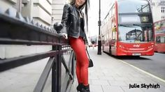 legging & leather in street of london with louboutin ankle booties in pu...