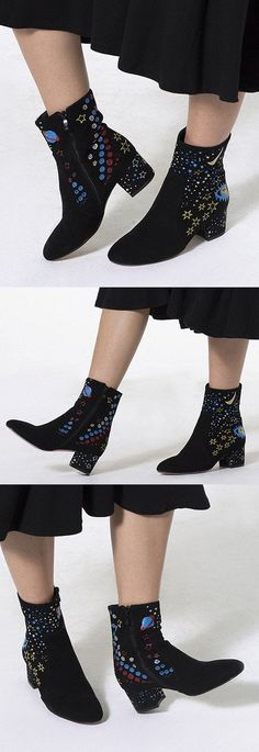 MYNYSTYLE | Black Galaxy Print Stretch Block Ankle Boots. It is to attract attention when you walk in the street by in this boots.