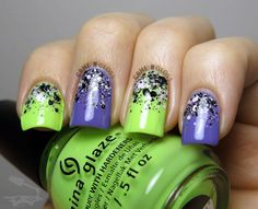 Purple and green nails - China Glaze City Flourish Collection - IG gamengloss FB GAME N GLOSS