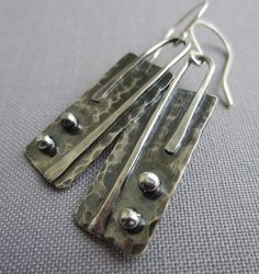 Texturized Silver Earrings/ Geometric Earrings/ by mese9 on Etsy