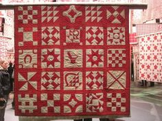 Selvage Blog: Red and White Pieced Quilts, sampler quilt.