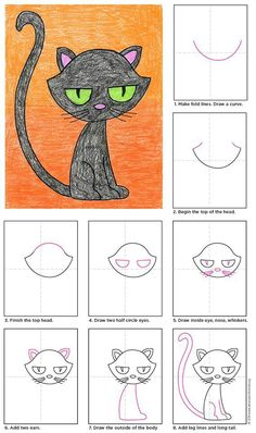 Learn How To Draw A Cat Tutorial-- here is a step by step lesson teaching how To Draw a Cartoon Cat. I thought the Cat was pretty cute with its huge eyes!