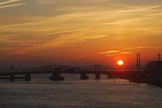Chincoteague, VA : Sunset over Chincoteague Draw Bridge taken April 2009