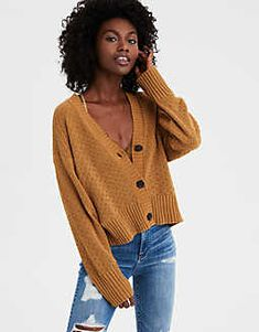 AE Crop Chenille Textured Cardigan