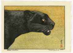 Toshi Yoshida Japanese Woodblock Print Black Panther 1987
