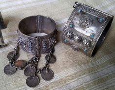 Gorgeous antique silver bracelets, probably from Deir El Zor in Syria.  Sold by Tingitane Jewels on Facebook.