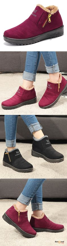US$24.99 + Free shipping. Women Cotton Shoes Winter Fur Lining Keep Warm Comfy Ankle Snow Boots. Women's shoe boots, casual style in winter, fur lining ankle boots, perfect for F/W. Buy now!