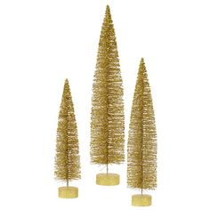 3 Piece Glitter Oval Christmas Tree Set | Wayfair