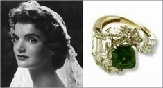 Jack Kennedy chose this unusual diamond and emerald ring when he popped the question to Jacqueline Bouvier. The original ring had baguette diamonds, but Jackie had it redesigned with round and marquise diamonds after their marriage.
