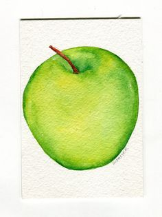 Green Apple Painting watercolor kitchen art 4 x by SharonFosterArt, $8.50