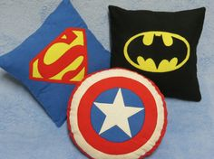 Super hero toss pillow by SMPstore on Etsy, $25.00 each. You can have the Batman one, Ben wants the Captain America. I'll take Superman :)