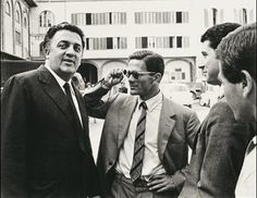 Federico Fellini and Pier Paolo Pasolini. on the set of Accattone, 1963