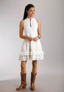 This dress is too country for me but I love sundresses with cowboy boots!