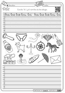 Caligrafia y autodictado en Montessori trabada Br