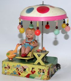RARE Vintage Tin Litho and Celluloid HAPPY LIFE Wind-up Toy, by Alps, Japan