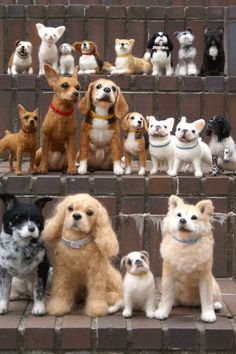 Needle felted dogs by artist in Japan