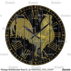 Vintage Gold Rooster Your Color Large Clock