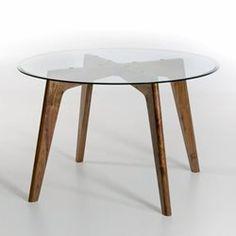 Table ronde Kristal verre et noyer