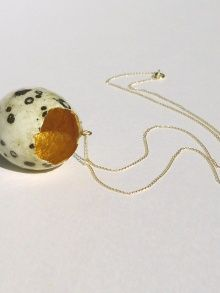 gold lined quail egg pendant: like it fell from a nest from heaven. by STEPHANIE SIMEK