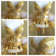 "This would look amazing under stage lights! ""Golden Goddess"" by Electric Laundry #edm #raveoutfits"