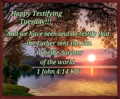 """HAPPY TESTIFYING TUESDAY !!!! 1 John 4:14 (1611 KJV !!!!) """" And we have seen and do testify that the Father sent the Son to be the Saviour of the world."""" 1 John 4, Biblical Womanhood, Sisters In Christ, Romans 12, People In Need, Jesus Loves You, King James, True Words, Word Of God"""