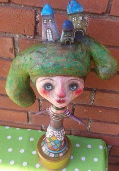 Ooak Paper Clay Art Doll Grundy Greyflax