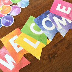 Editable Watercolor Paint Classroom Bunting in all the colours of the rainbow Classroom Bunting, Classroom Door Displays, Classroom Door Signs, Classroom Labels, Classroom Decor Themes, Classroom Organisation, Primary Classroom, Kindergarten Classroom, Future Classroom