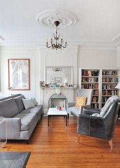 Sarah & Davids Modern and Sophisticated Brooklyn Home — House Tour - Apartment Therapy Main Living Room Grey, Living Room Modern, Home And Living, Living Room Designs, Living Room Decor, Living Spaces, Living Rooms, Small Living, Grey Interior Design