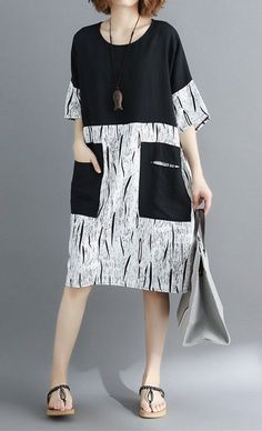 Women loose fit pocket dress patchwork tunic short sleeve casual large size chic #unbranded #dress