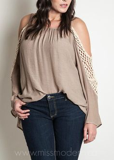 Crochet cold shoulder top - Plus size. Beautiful & versatile wear with shorts or jeans. With a tank or without! Available at Miss Modern Boutique.ca