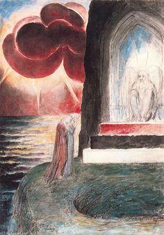 William Blake - Dante y Virgilio ante el ángel guardián de la puerta del purgatorio