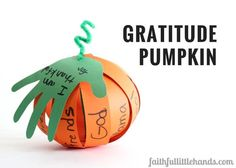 Kids can create personalized paper gratitude pumpkins for Thanksgiving with our free template. On each strip write one thing you are thankful for.
