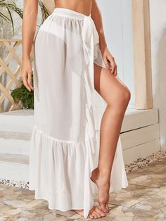 Sheer Cover Up, Beachwear Fashion, White Bikinis, Bikini Outfits, Chiffon Skirt, Ideias Fashion, Fashion Outfits, Skirts, Instagram