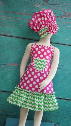 Kids Apron Kids Ruffle Apron Pink & Green Polka por KitchenGlam
