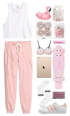 """pink"" by ceren-gcr ❤ liked on Polyvore featuring Monki, H&M, adidas Originals, Korres, Fleur du Mal and Sunnylife"