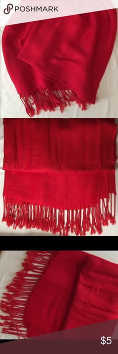 ♥️Bold Red Pashmina Scarf Red fringed pashmina style scarf.  Nonsmoking environment. SALE: Items marked with a ♥️ are 3 for $10!  (Or 2 for $8) Bundle 3 ♥️'s, offer $10, and I'll accept :) Accessories Scarves & Wraps