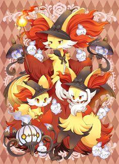 Fire-type Pokemon: Fennekin, Braixen, Delphox, Lampent, and Chandelure.