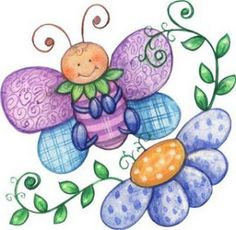 ~~pinned from site directly~~ . butterfly with flower Tole Painting, Fabric Painting, Doodle Art, Clip Art, Arts And Crafts, Paper Crafts, Cute Clipart, Digi Stamps, Cute Images
