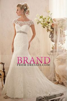 2014 Graceful Off The Shoulder Lace Bodice Beaded Waistline Sheath/Column Wedding Dress With Applique USD 269.99 BPPRQ15A9K - BrandPromDresses.com for mobile