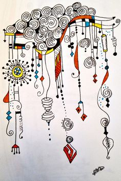Zentangle Dangle Design entitled Spilling Over with Happiness - by Lynn Allen--Zenspiration Tangle Doodle, Tangle Art, Zen Doodle, Doodle Art, Zentangle Drawings, Doodles Zentangles, Doodle Drawings, Doodle Designs, Doodle Patterns