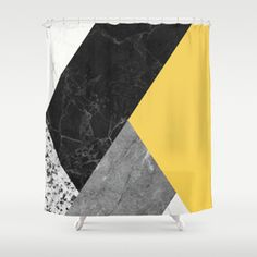 Black and white marbles and pantone primrose yellow color Shower Curtain