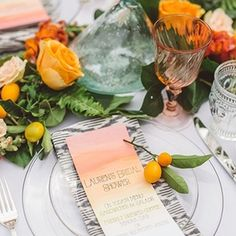 Citrus hues for a dinner table