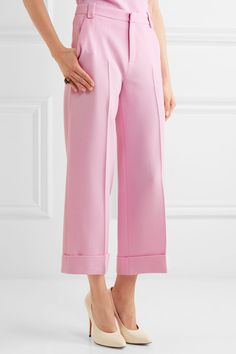 Roland Mouret - Rew Cropped Wool-crepe Wide-leg Pants - Pink Pink Uk 5cb93d0e67ab
