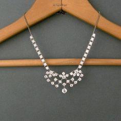 Art Deco Crystal Necklace  Open Back Festoon Bib  by pinguim, $140.00