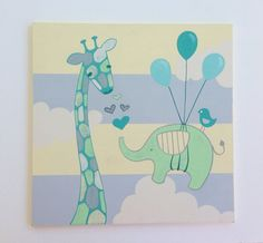 Hand Painted Elephant Giraffe Nursery Art by SweetBananasArt
